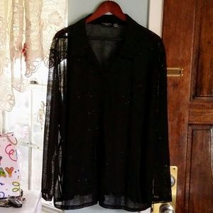 George Woman Sheer Black Shimmery Blouse 26W/28W